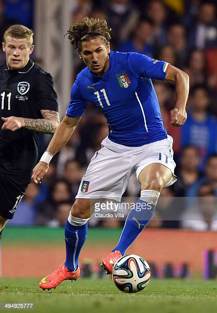 Alessio Cerci of Italy in action during the International Friendly match between Italy and Ireland at Craven Cottage on May 30 2014 in London England