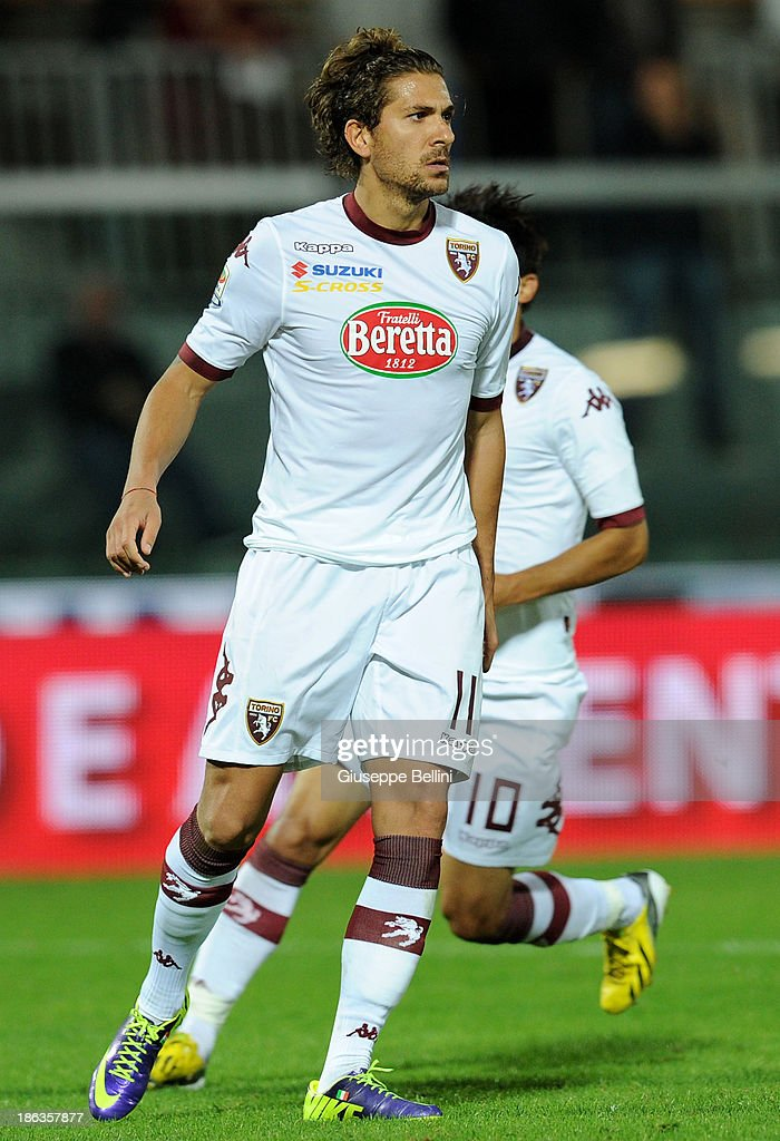 Alessio Cerci of Torino celebrates after scoring the goal 3-3 during the Serie A match between AS Livorno Calcio v Torino FC at Stadio Armando Picchi on October 30, 2013 in Livorno, Italy.