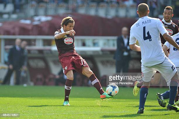 Alessio Cerci of Torino FC scored their second goal during the Serie A match between Torino FC and Genoa CFC at Stadio Olimpico di Torino on April 13...