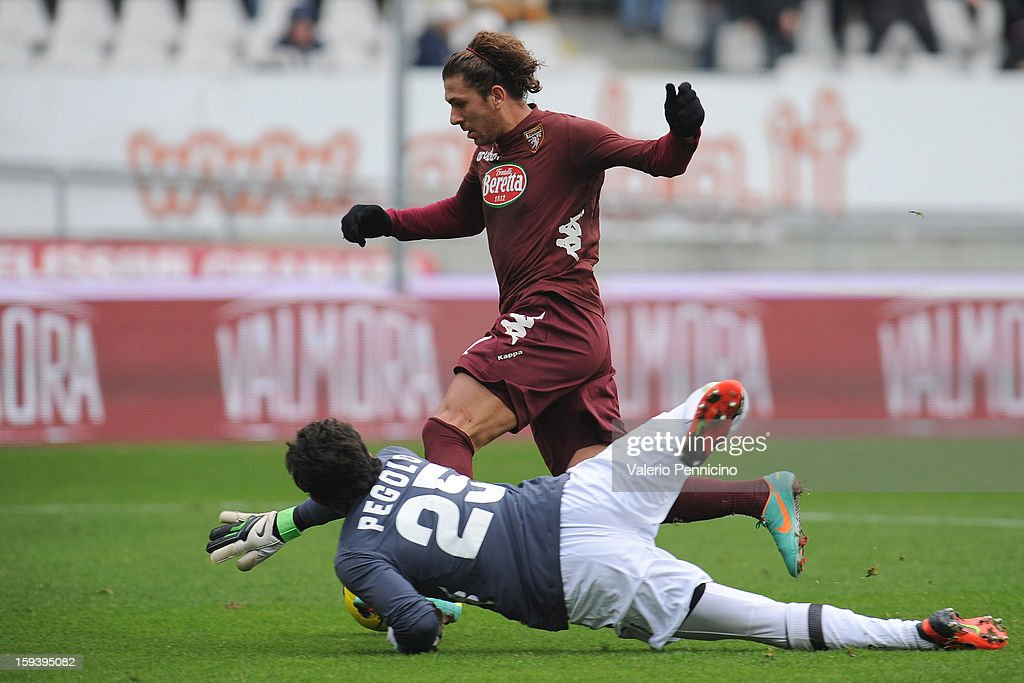 Alessio Cerci of Torino FC scores their third goal during the Serie A match between Torino FC and AC Siena at Stadio Olimpico di Torino on January 13, 2013 in Turin, Italy.