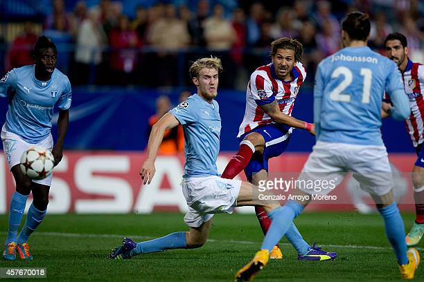 Alessio Cerci scores their fifth goal during the UEFA Champions League group A match between Club Atletico de Madrid and Malmo FF at Vicente Calderon...