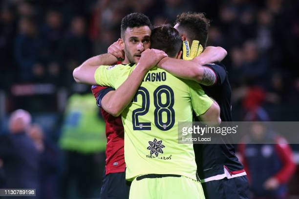 Alessio Cragno and teammates celebrate victory at the end of the Serie A match between Cagliari and ACF Fiorentina at Sardegna Arena on March 15 2019...