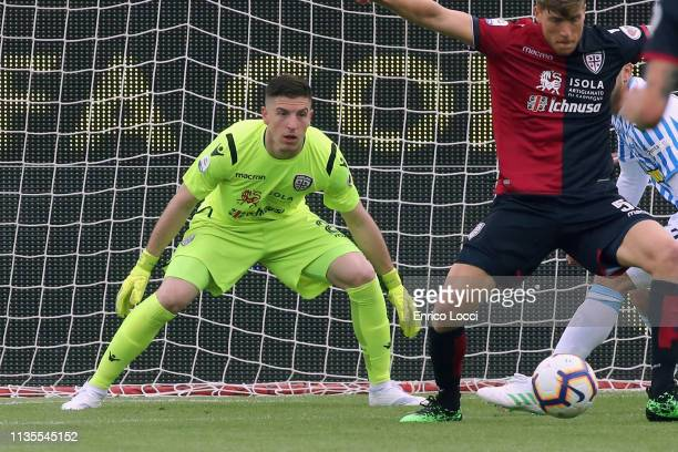 Alessio Cragno of Cagliari in action during the Serie A match between Cagliari and SPAL at Sardegna Arena on April 7 2019 in Cagliari Italy