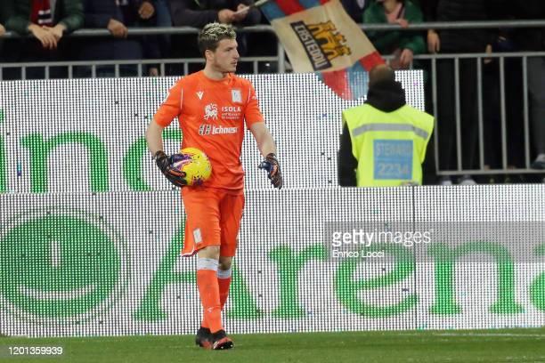 Alessio Cragno of Cagliari in action during the Serie A match between Cagliari Calcio and SSC Napoli at Sardegna Arena on February 16 2020 in...