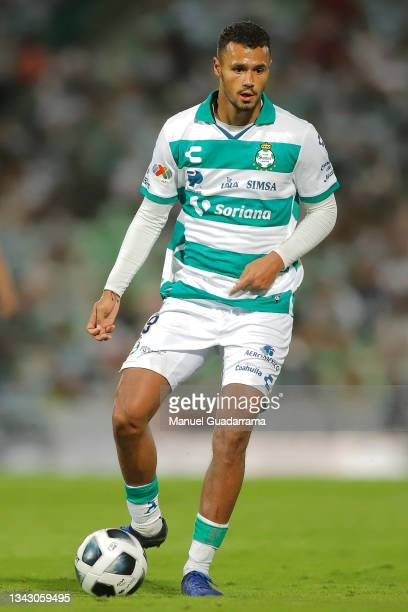 Alessio da Cruz of Santos controls the ball during the 10th round match between Santos Laguna and Monterey as part of the Torneo Grita Mexico A21...