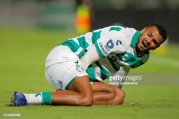 Alessio da Cruz of Santos reacts during the 10th round match between Santos Laguna and Monterey as part of the Torneo Grita Mexico A21 Liga MX at...