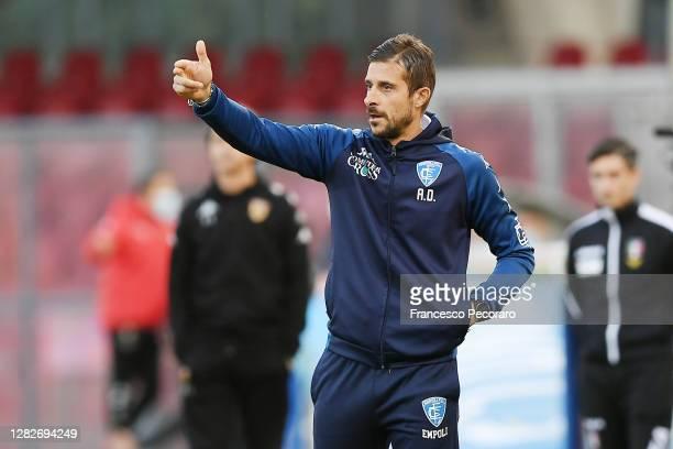 Alessio Dionisi Empoli FC coach gestures during the Coppa Italia match between Benevento Calcio and Empoli FC at Stadio Ciro Vigorito on October 28,...