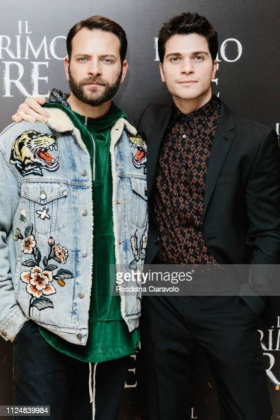 Alessio Lapice and Alessandro Borghi attend Il Primo Re photocall at Anteo Spazio Cinema on January 25 2019 in Milan Italy