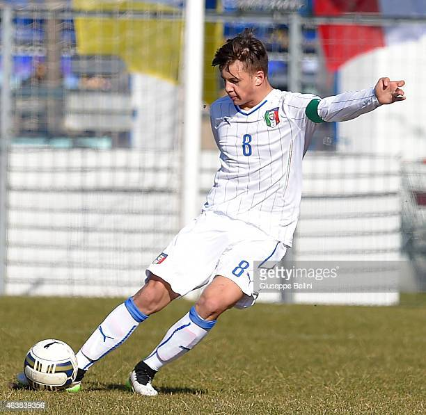 Alessio Militari of italy in action during the international friendly match between Italy U16 and Croatia U16 on February 19 2015 in Monfalcone Italy