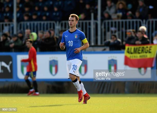 Alessio Riccardi of Italy in action during the U17 International Friendly match between Italy and Spain at Juventus Center Vinovo on January 17 2018...