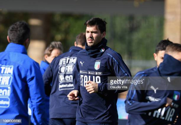 Alessio Romagnoli looks on during an Italy Training session at Centro Tecnico Federale di Coverciano on November 16 2018 in Florence Italy