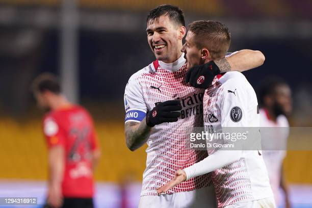 Alessio Romagnoli of AC Milan celebrate the victory of theSerie A match between Benevento Calcio and AC Milan at Stadio Ciro Vigorito on January 03,...