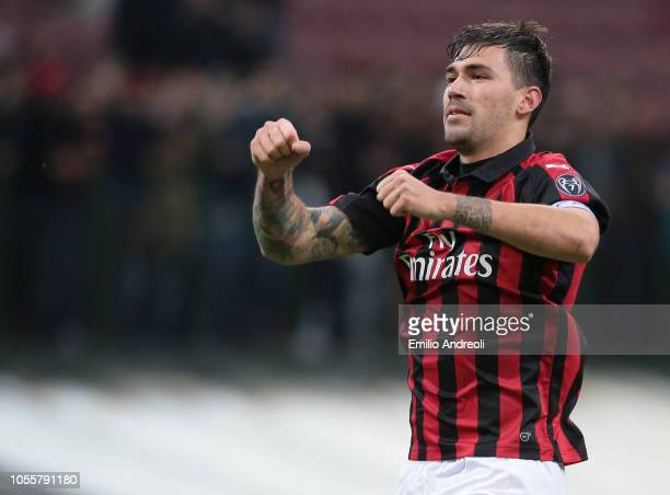 Alessio Romagnoli of AC Milan celebrates the victory at the end of the serie A match between AC Milan and Genoa CFC at Stadio Giuseppe Meazza on...