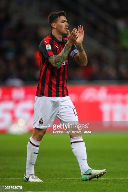 Alessio Romagnoli of AC Milan during the Serie A match between FC Internazionale and AC Milan at Stadio Giuseppe Meazza on October 21 2018 in Milan...