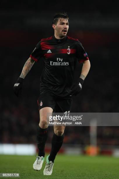 Alessio Romagnoli of AC Milan during the UEFA Europa League Round of 16 Second Leg match between Arsenal and AC Milan at Emirates Stadium on March 15...