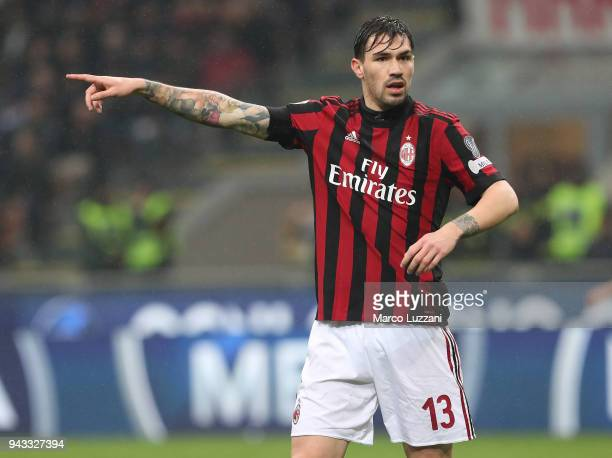 Alessio Romagnoli of AC Milan gestures during the erie A match between AC Milan and FC Internazionale at Stadio Giuseppe Meazza on April 4 2018 in...