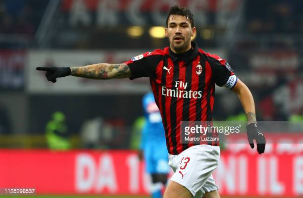 Alessio Romagnoli of AC Milan gestures during the Serie A match between AC Milan and SSC Napoli at Stadio Giuseppe Meazza on January 26 2019 in Milan...