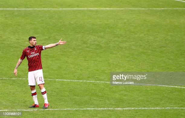 Alessio Romagnoli of AC Milan gestures during the Serie A match between AC Milan and Genoa CFC at Stadio Giuseppe Meazza on March 8 2020 in Milan...