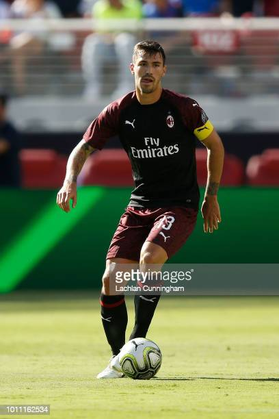 Alessio Romagnoli of AC Milan in action against FC Barcelona during the International Champions Cup match at Levi's Stadium on August 4 2018 in Santa...