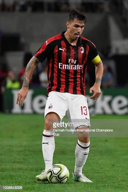Alessio Romagnoli of AC Milan in action against Tottenham Hotspur during the International Champions Cup 2018 at US Bank Stadium on July 31 2018 in...