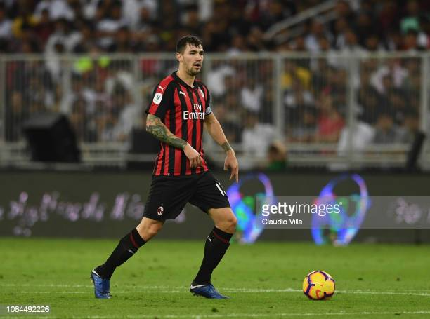 Alessio Romagnoli of AC Milan in action during the Italian Supercup match between Juventus and AC Milan at King Abdullah Sports City on January 16...