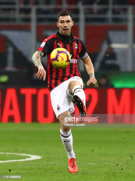 Alessio Romagnoli of AC Milan in action during the Serie A match between AC Milan and Empoli at Stadio Giuseppe Meazza on February 22 2019 in Milan...