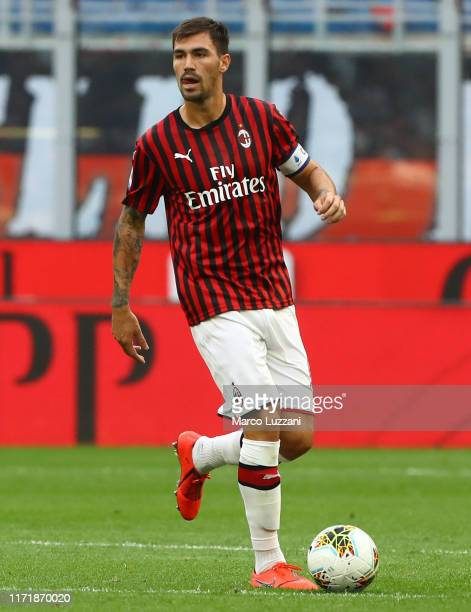 Alessio Romagnoli of AC Milan in action during the Serie A match between AC Milan and Brescia Calcio at Stadio Giuseppe Meazza on September 1 2019 in...