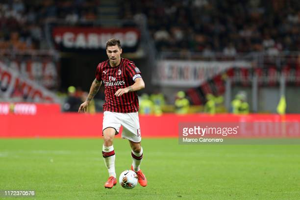 Alessio Romagnoli of Ac Milan in action during the Serie A match between Ac Milan and Acf Fiorentina Acf Fiorentina wins 31 over Ac Milan