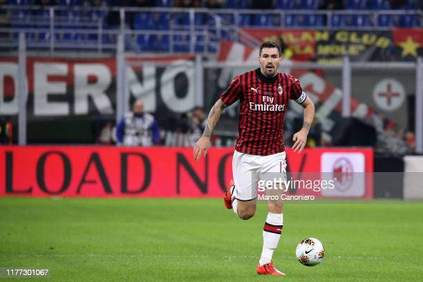 Alessio Romagnoli of Ac Milan in action during the Serie A match between Ac Milan and Us Lecce The match ends in a draw 2 2