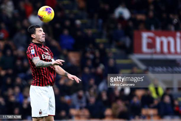Alessio Romagnoli of Ac Milan in action during the Serie A match between Ac Milan and Ss Lazio SS Lazio wins 21 over Ac Milan