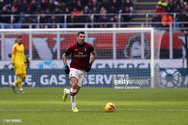Alessio Romagnoli of Ac Milan in action during the Serie A match between Ac Milan and Udinese Calcio Ac Milan wins 32 over Udinese Calcio