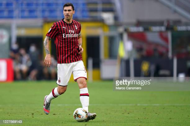 Alessio Romagnoli of Ac Milan in action during the Serie A match between Ac Milan and Parma Calcio Ac Milan wins 31 over Parma Calcio