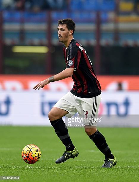 Alessio Romagnoli of AC Milan in action during the Serie A match between AC Milan and US Sassuolo Calcio at Stadio Giuseppe Meazza on October 25 2015...