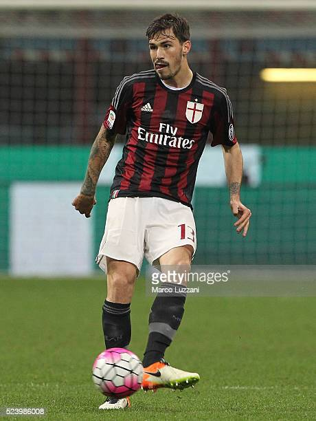 Alessio Romagnoli of AC Milan in action during the Serie A match between AC Milan and Carpi FC at Stadio Giuseppe Meazza on April 21 2016 in Milan...