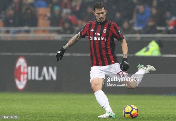 Alessio Romagnoli of AC Milan in action during the serie A match between AC Milan and FC Crotone at Stadio Giuseppe Meazza on January 6 2018 in Milan...