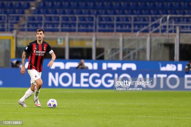 Alessio Romagnoli of Ac Milan in action during the Serie A match between Fc Internazionale and Ac Milan Ac Milan wins 21 over Fc Internazionale