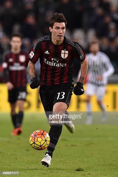 Alessio Romagnoli of AC Milan in action during the Serie A match between Juventus FC and AC Milan at Juventus Arena on November 21 2015 in Turin Italy