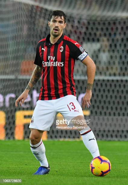 Alessio Romagnoli of AC Milan in action during the Serie A match between Udinese and AC Milan at Stadio Friuli on November 4 2018 in Udine Italy