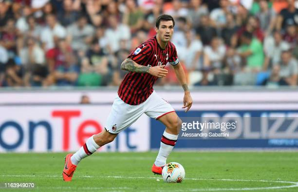 Alessio Romagnoli of AC MIlan in action during the Serie A match between Udinese Calcio and AC Milan at Stadio Friuli on August 25 2019 in Udine Italy