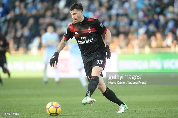 Alessio Romagnoli of AC Milan in action during the serie A match between Spal and AC Milan at Stadio Paolo Mazza on February 10 2018 in Ferrara Italy
