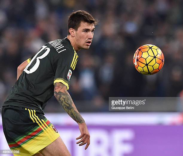 Alessio Romagnoli of AC Milan in action during the Serie A match between SS Lazio and AC Milan at Stadio Olimpico on November 1 2015 in Rome Italy