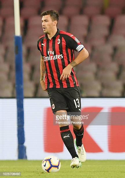 Alessio Romagnoli of AC Milan in action during the serie A match between SSC Napoli and AC Milan at Stadio San Paolo on August 25 2018 in Naples Italy