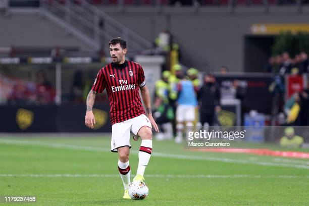Alessio Romagnoli of Ac Milan in action during the the Serie A match between Ac Milan and Spal Ac Milan wins 10 over Spal
