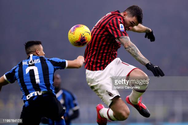 Alessio Romagnoli of Ac Milan in action during the the Serie A match between Fc Internazionale and Ac Milan Fc Internazionale wins 42 over Ac Milan