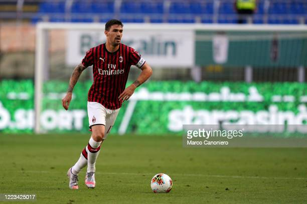 Alessio Romagnoli of Ac Milan in action during the the Serie A match between Ac Milan and As Roma Ac Milan wins 20 over As Roma