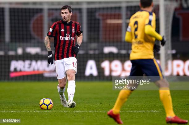 Alessio Romagnoli of AC Milan in action during the TIM Cup football match between AC Milan and Hellas Verona AC Milan won 30 over Hellas Verona