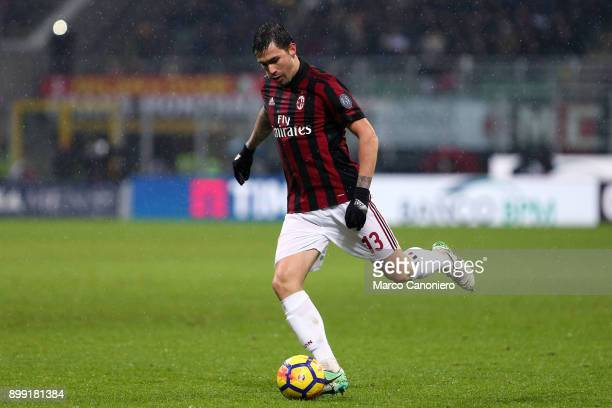 Alessio Romagnoli of Ac Milan in action during the Tim Cup football match between AC Milan and Fc Internazionale Ac Milan wins 10 over Fc...