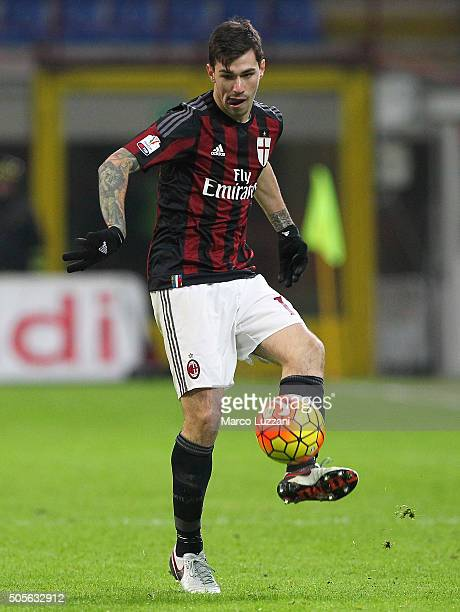 Alessio Romagnoli of AC Milan in action during the TIM Cup match between AC Milan and Carpi FC at Stadio Giuseppe Meazza on January 13 2016 in Milan...