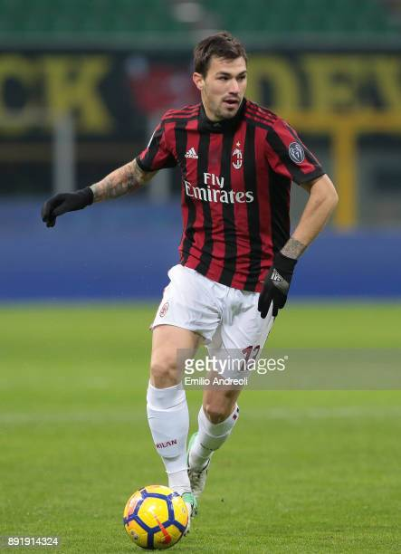 Alessio Romagnoli of AC Milan in action during the Tim Cup match between AC Milan and Hellas Verona FC at Stadio Giuseppe Meazza on December 13 2017...
