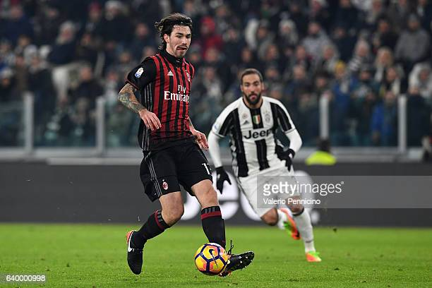 Alessio Romagnoli of AC Milan in action during the TIM Cup match between Juventus FC and AC Milan at Juventus Stadium on January 25 2017 in Turin...